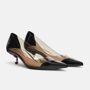 df7ed4c89ed Zara Shoes - Zara Vinyl Black Patent Kitten Heel